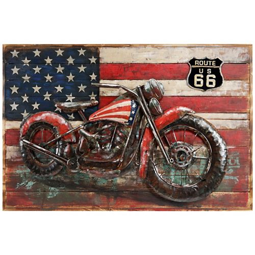 Empire Art Direct Motorcycle 4 Handed Painted Iron Wall sculpture on Wooden Wall Art