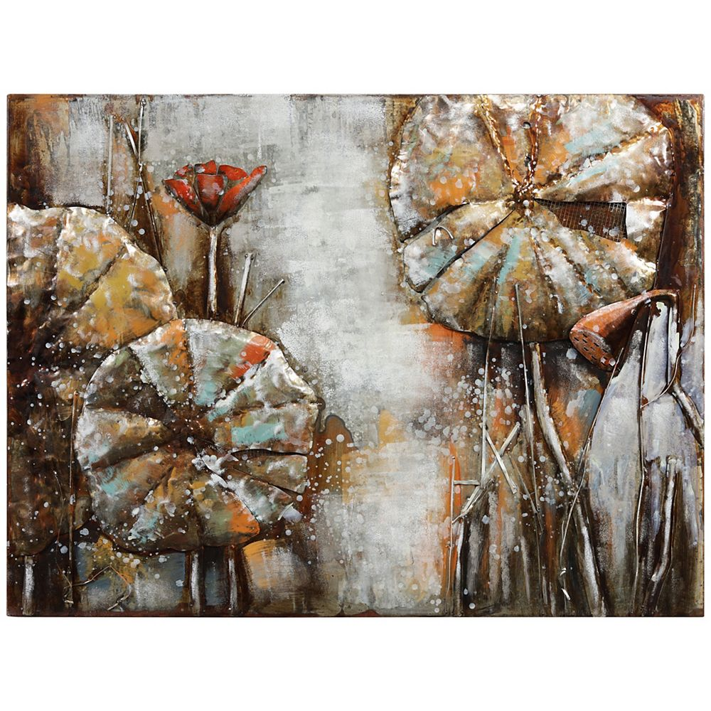 Empire Art Direct Water Lilly Pads 1 Mixed Media Iron Hand Painted Dimensional Wall Art