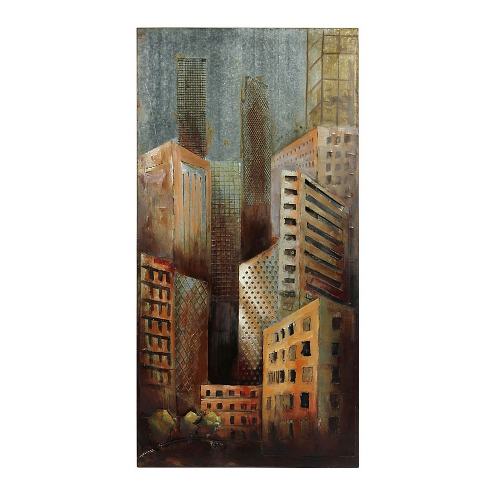 Empire Art Direct Grey Arquitecture 1 Mixed Media Iron Hand Painted Dimensional Wall Art