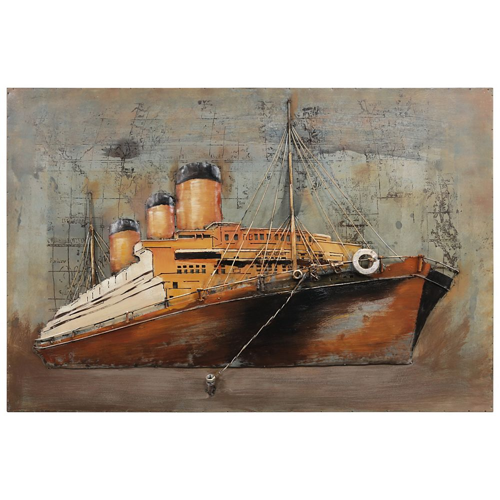 Empire Art Direct Brown ship Mixed Media Iron Hand Painted Dimensional Wall Art