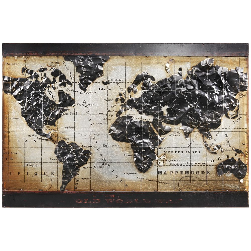 Empire Art Direct World Map 2 Mixed Media Iron Hand Painted Dimensional Wall Art The Home Depot Canada