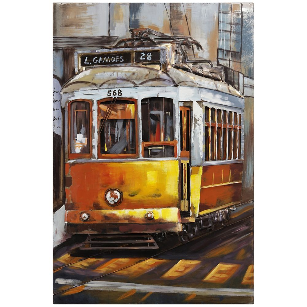Empire Art Direct Cable Car Mixed Media Iron Hand Painted Dimensional Wall Art