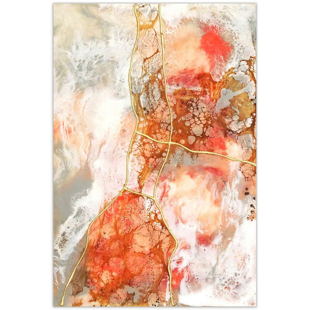 Empire Art Direct Coral Lace II Art mural graphique sans cadre en verre trempé flottant sans cadre