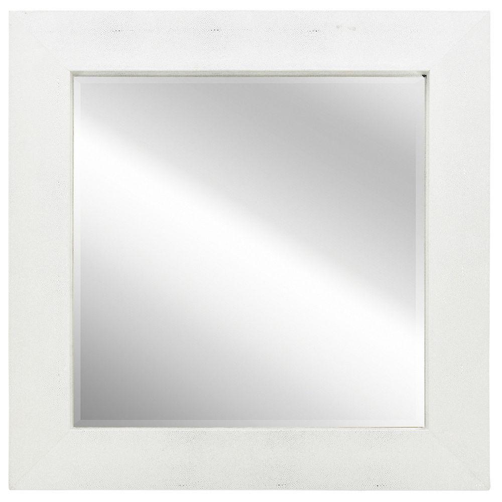 Empire Art Direct Silver on White Metallic Shagreen Leather Framed Beveled Mirror