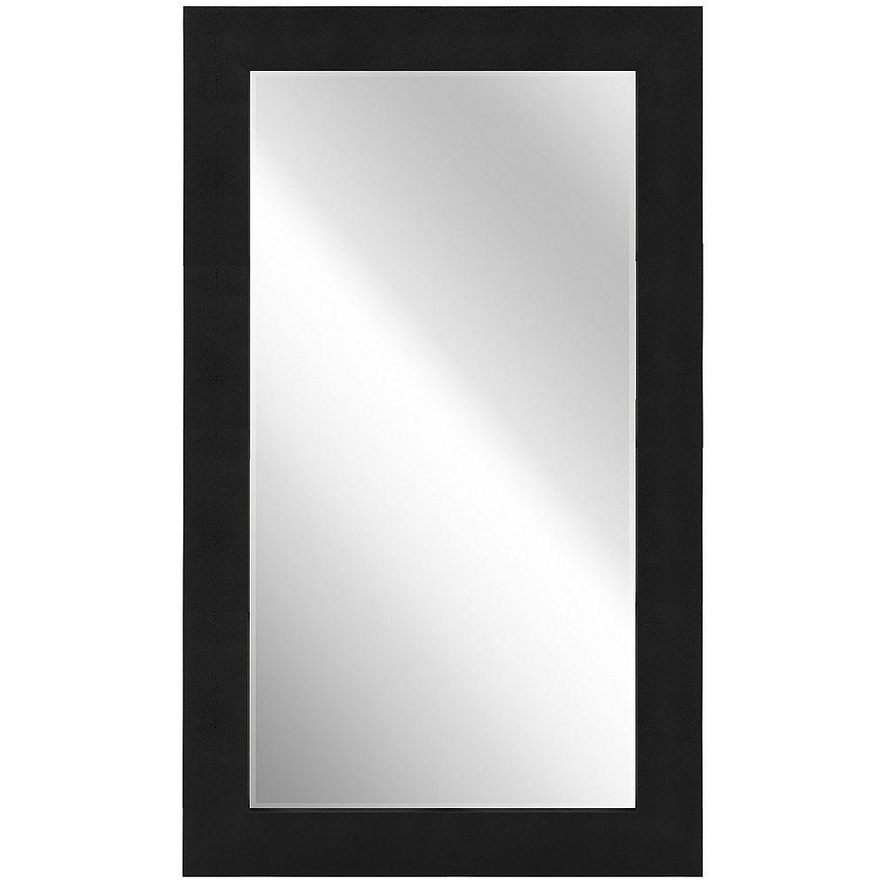 Empire Art Direct Black on Black Metallic Shagreen Leather Framed Beveled Mirror