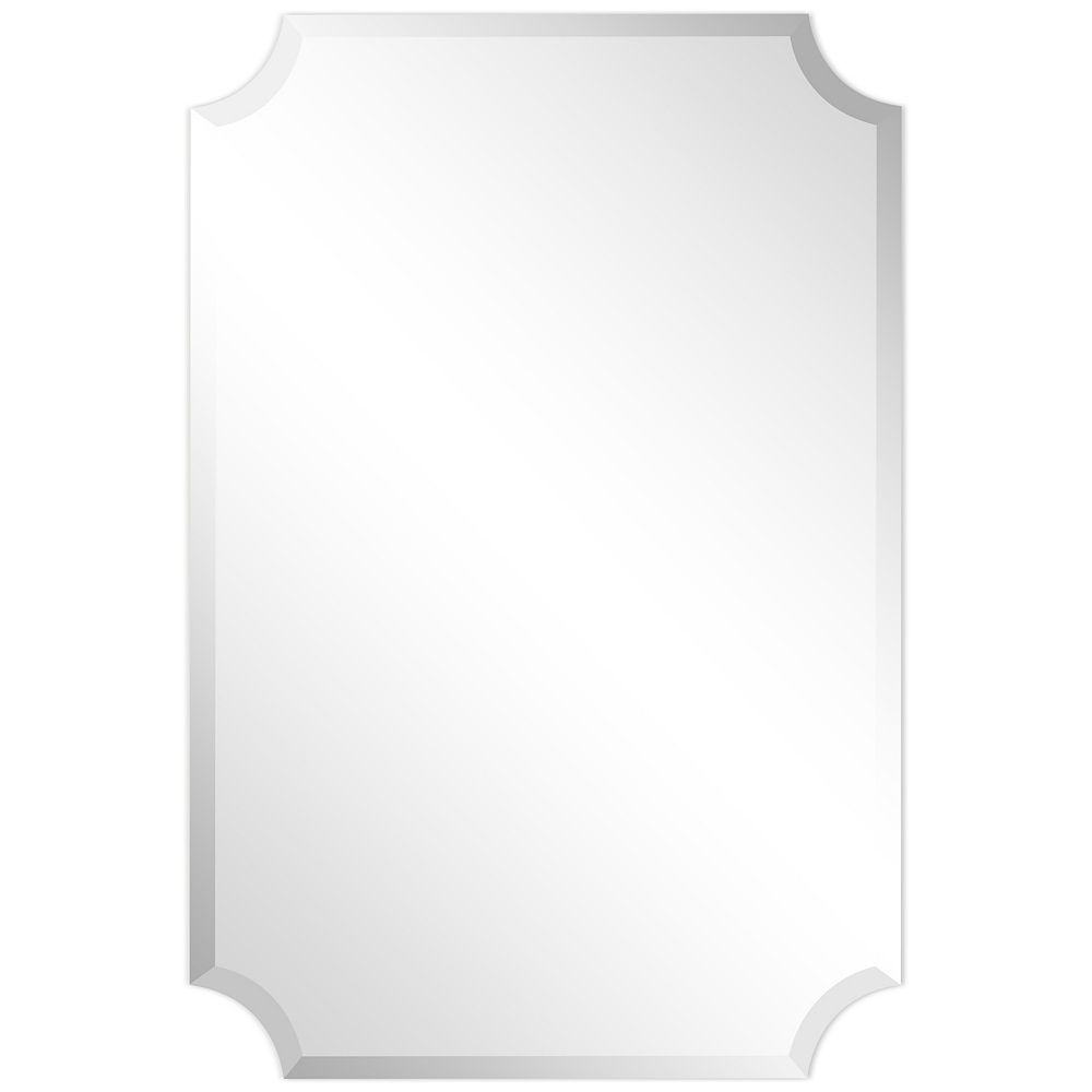 Empire Art Direct Frameless Rectangle Scalloped Beveled Wall Mirror The Home Depot Canada
