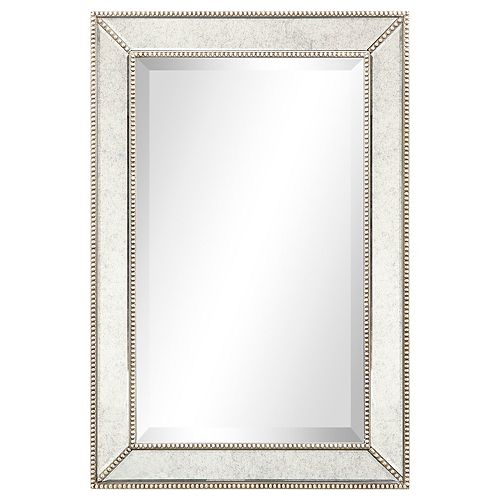 Champagne Beed Beveled Rectangle Wall Mirror
