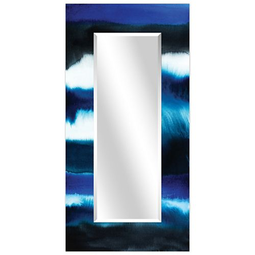 Empire Art Direct Run Off II Rectangular Beveled Mirror on Free Floating Reverse Printed Tempered Art Glass