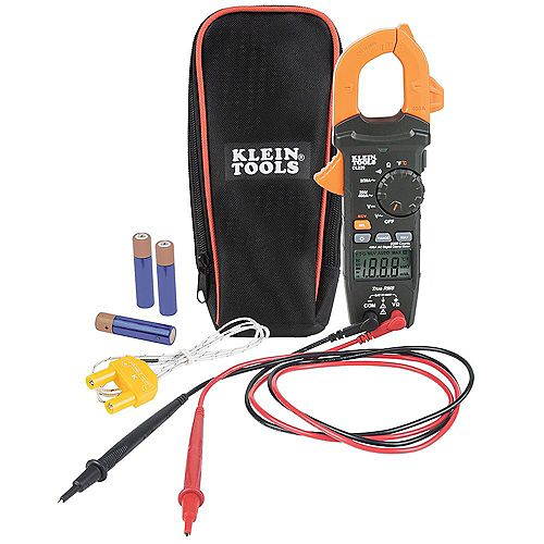 Klein Tools Digital Clamp Meter, AC Auto-Ranging 400Amp with Temp