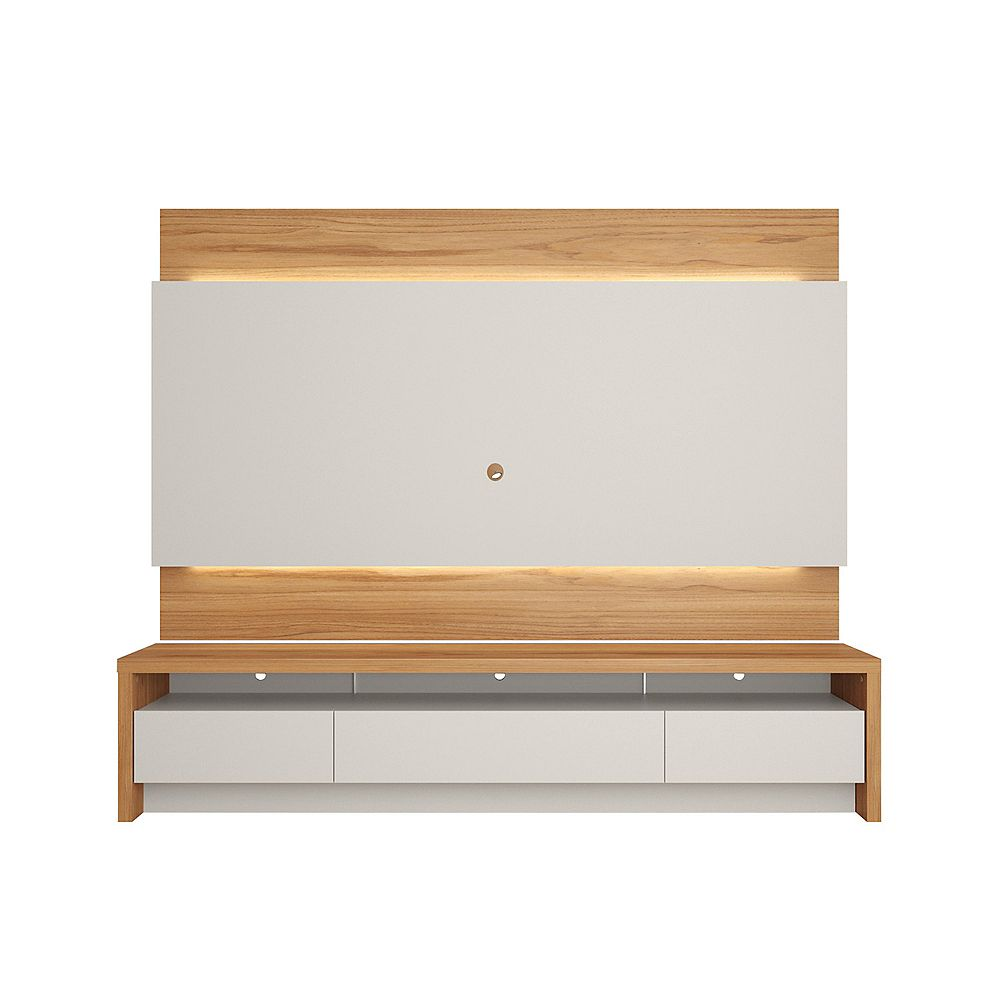 """Manhattan Comfort Lincoln 85.43"""" TV Panel and Sylvan 85.43"""" TV Stand in Off White and Cinnamon"""