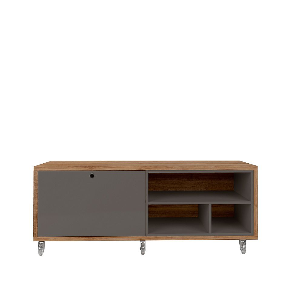 Manhattan Comfort Windsor 53.62 TV Stand in Grey and Nature