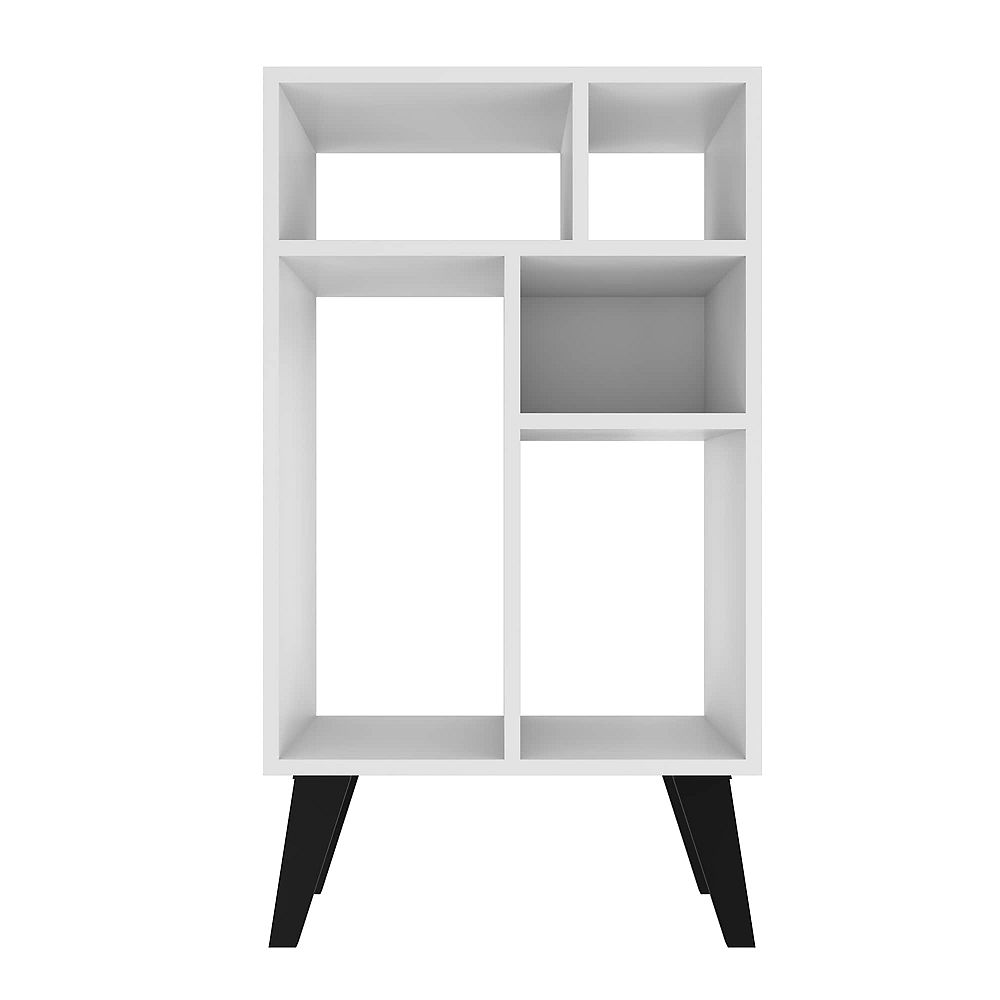 Manhattan Comfort Warren Low Bookcase 3.0 in White with Black Feet