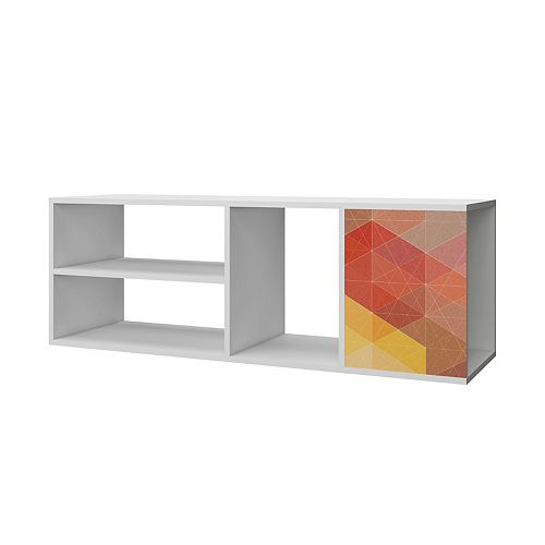 "Minetta 46"" Floating Entertainment Center in White, Red, Yellow Stamp"