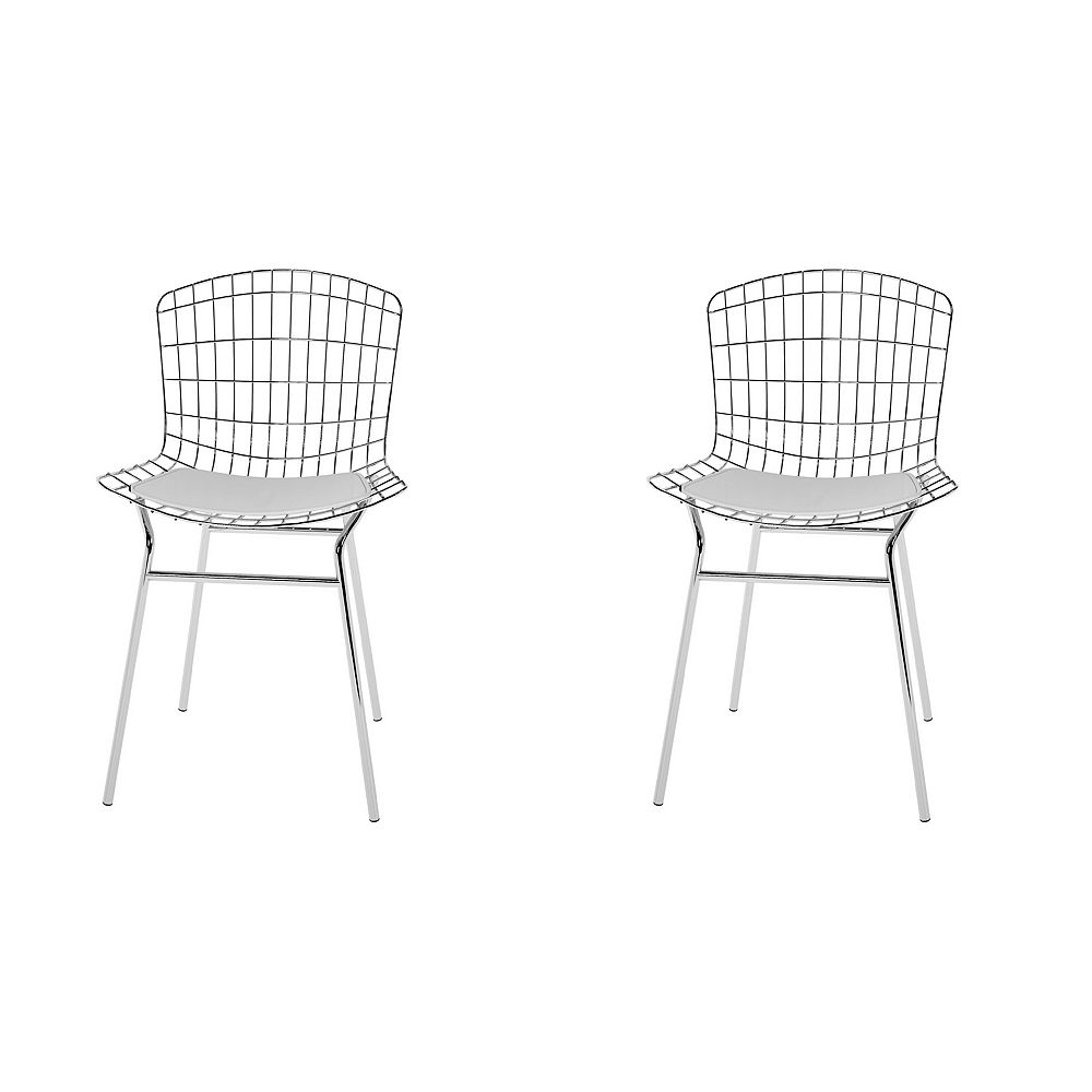 Manhattan Comfort Madeline Chair, Set of 2 in Silver and White