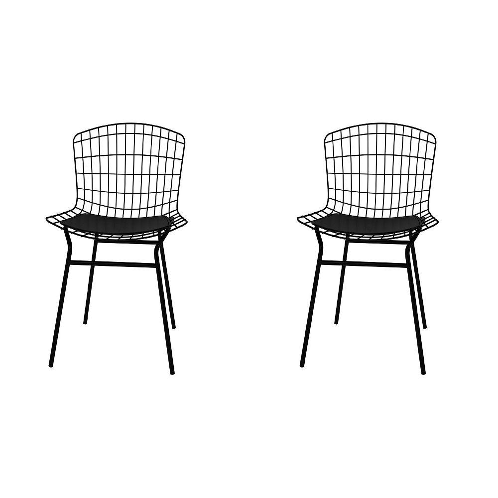 Manhattan Comfort Madeline Chair, Set of 2 in Black