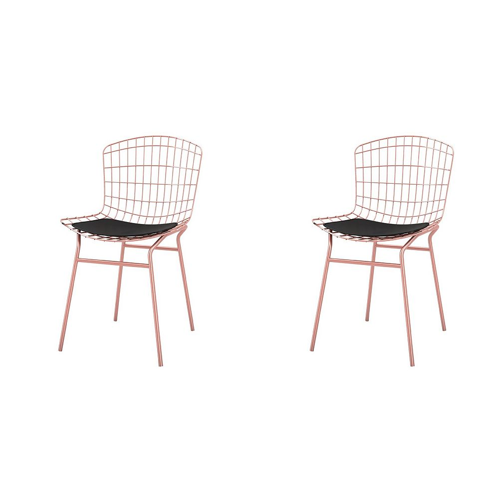 Manhattan Comfort Chaise Madeline, lot de 2 en or rose et noir