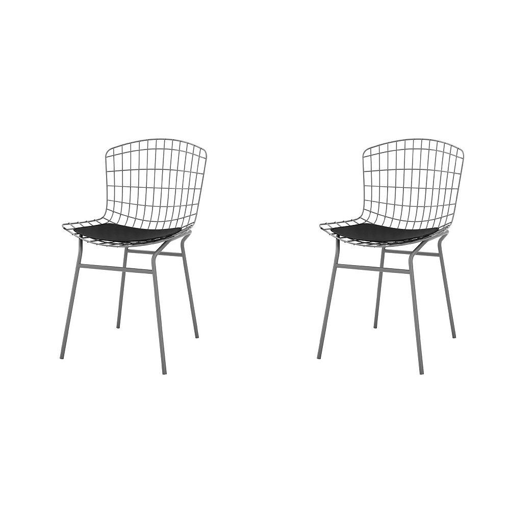 Manhattan Comfort Chaise Madeline, ensemble de 2 en gris anthracite et noir