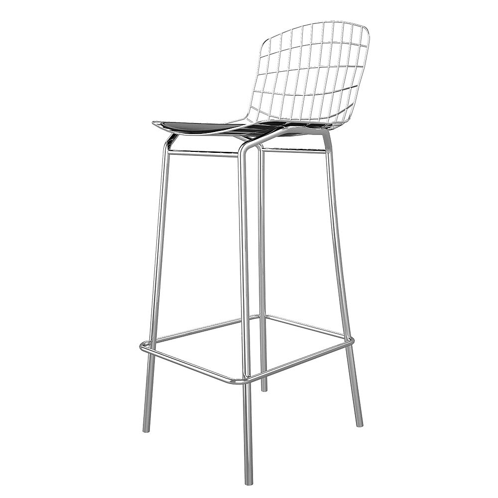 Manhattan Comfort Madeline Barstool in Silver and Black