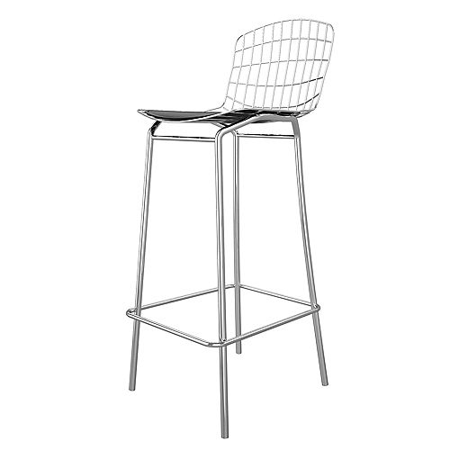 Madeline Barstool in Silver and Black