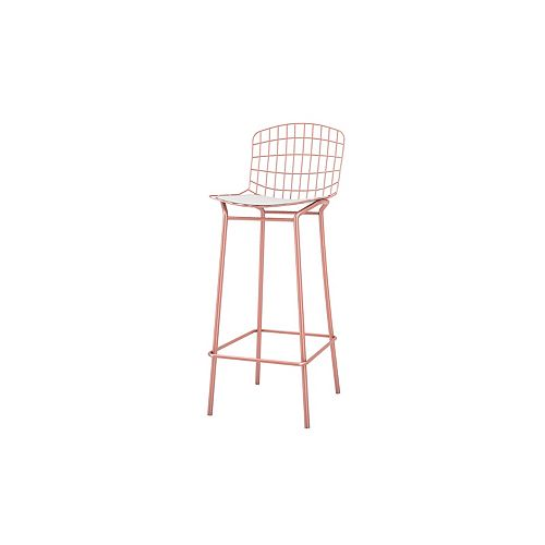 Madeline Barstool in Rose Pink Gold and White