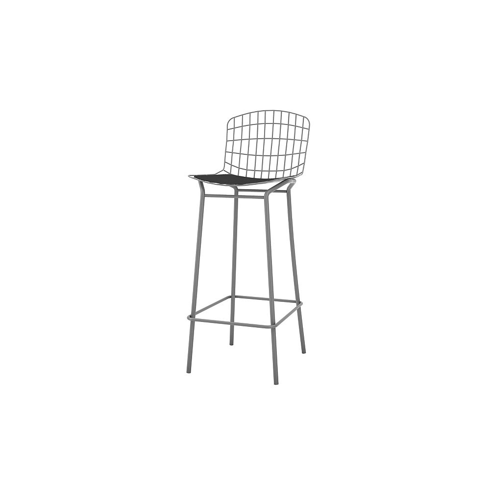 Manhattan Comfort Madeline Barstool in Charcoal Grey and Black