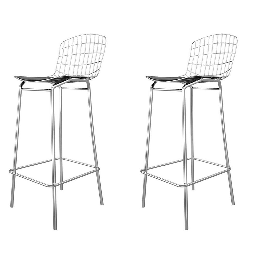 Manhattan Comfort Madeline Barstool, Set of 2 in Silver and Black