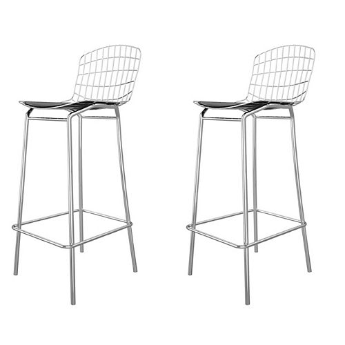 Madeline Barstool, Set of 2 in Silver and Black