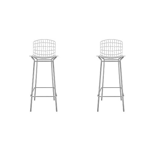 Manhattan Comfort Madeline Barstool, Set of 2 in Silver and White