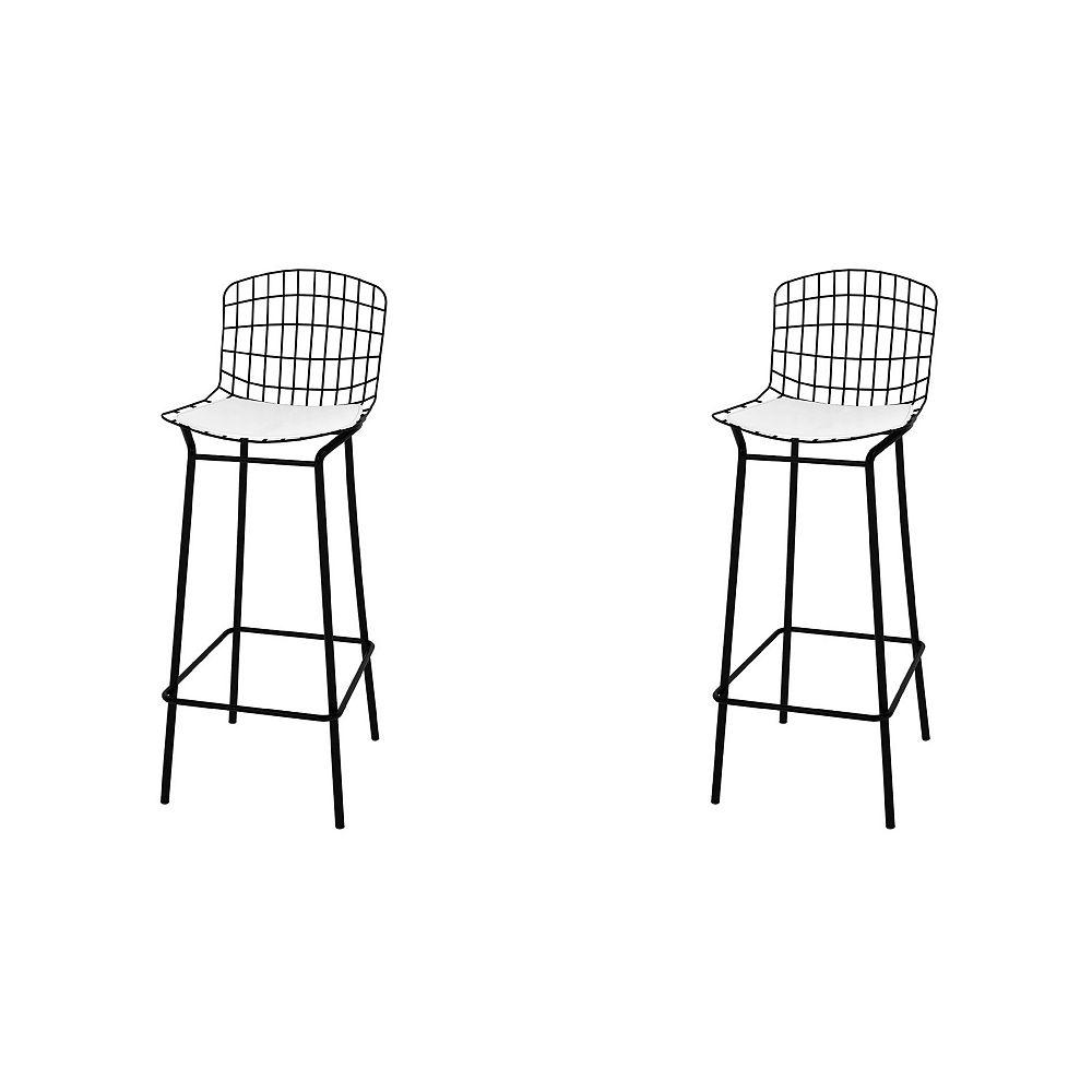 Manhattan Comfort Madeline Barstool, Set of 2 in Black and White