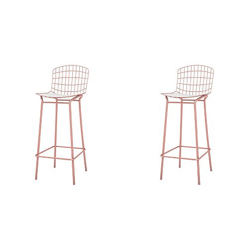 Madeline Barstool, Set of 2 in Rose Pink Gold and White