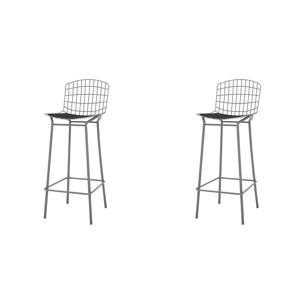 Manhattan Comfort Madeline Barstool, Set of 2 in Charcoal Grey and Black