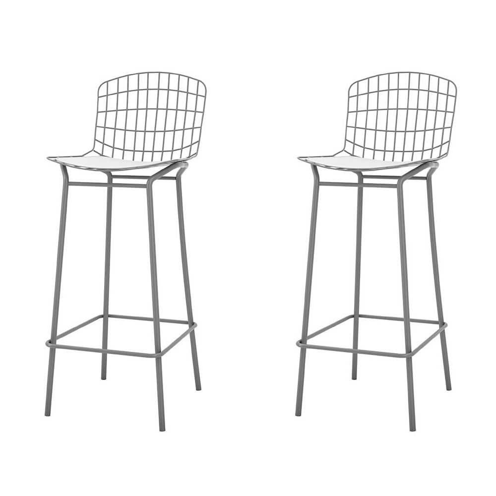 Manhattan Comfort Madeline Barstool, Set of 2 in Charcoal Grey and White