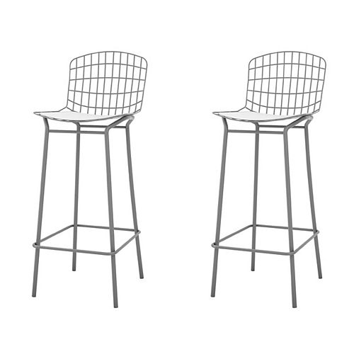Madeline Barstool, Set of 2 in Charcoal Grey and White