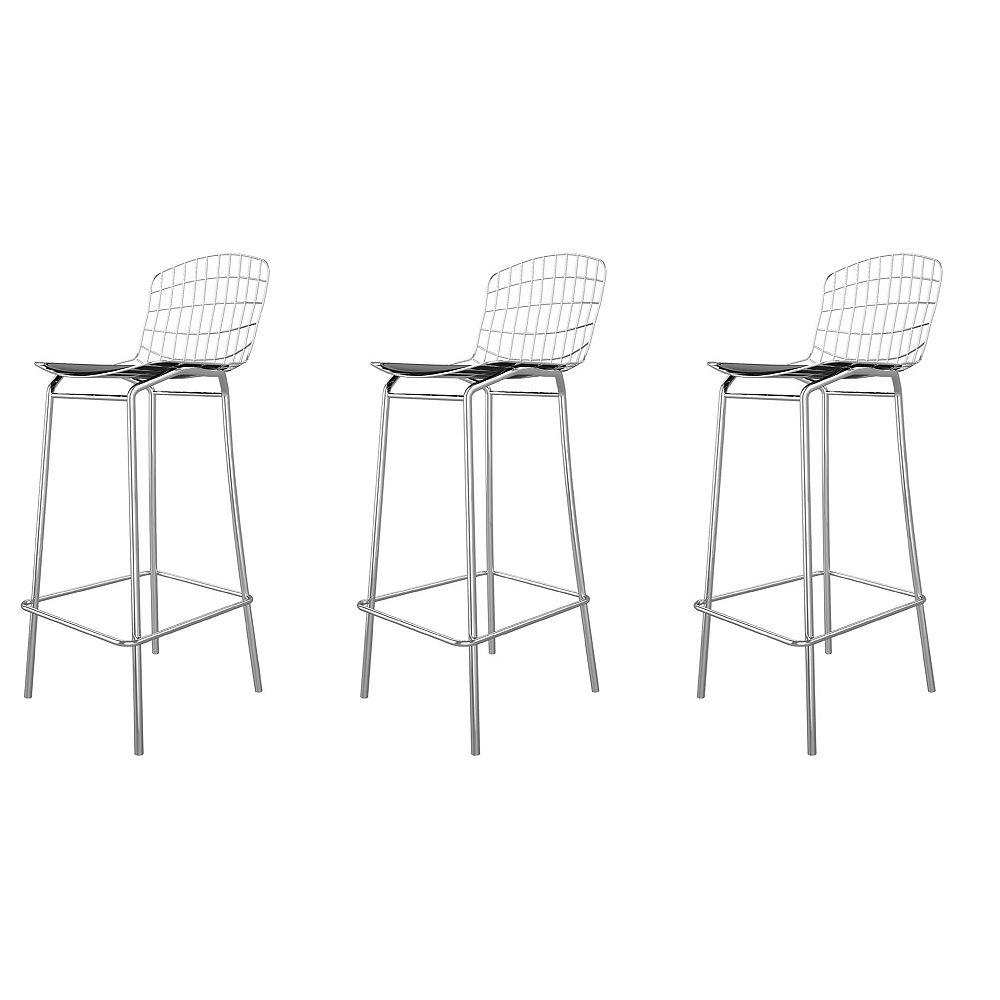Manhattan Comfort Madeline Barstool, Set of 3 in Silver and Black