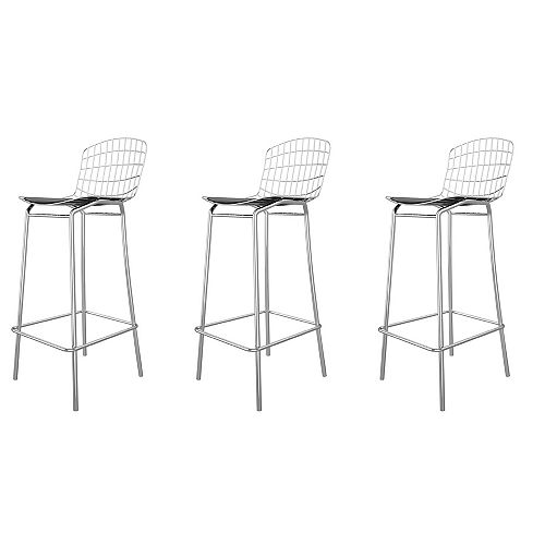 Madeline Barstool, Set of 3 in Silver and Black