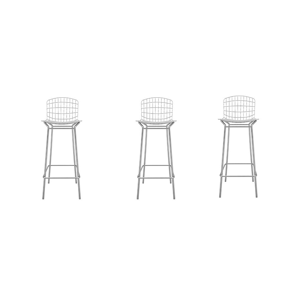Manhattan Comfort Madeline Barstool, Set of 3 in Silver and White