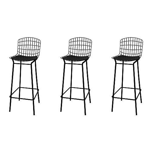Madeline Barstool, Set of 3 in Black