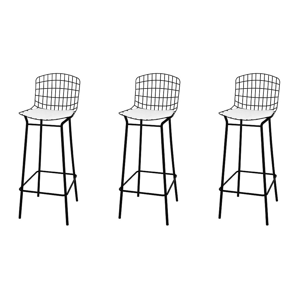 Manhattan Comfort Madeline Barstool, Set of 3 in Black and White