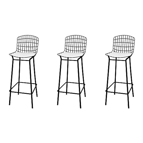 Madeline Barstool, Set of 3 in Black and White