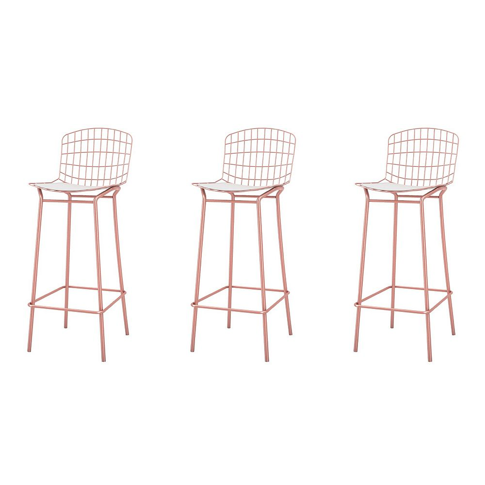Manhattan Comfort Madeline Barstool, Set of 3 in Rose Pink Gold and White