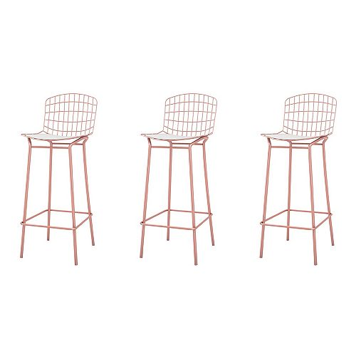 Madeline Barstool, Set of 3 in Rose Pink Gold and White