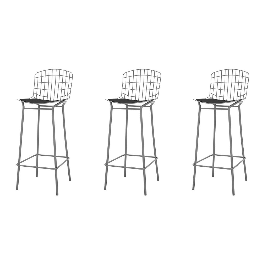 Manhattan Comfort Madeline Barstool, Set of 3 in Charcoal Grey and Black