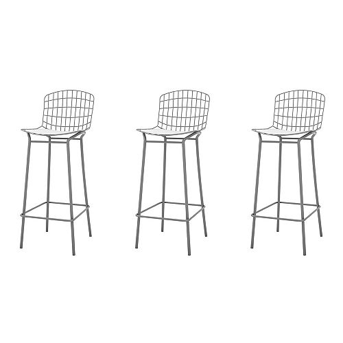 Madeline Barstool, Set of 3 in Charcoal Grey and White