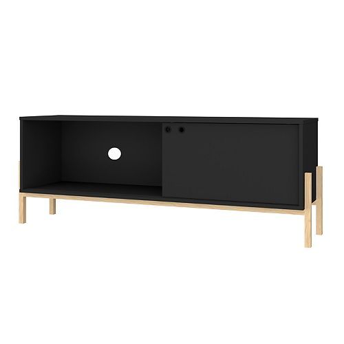 Bowery 55.12 TV Stand in Black and Oak