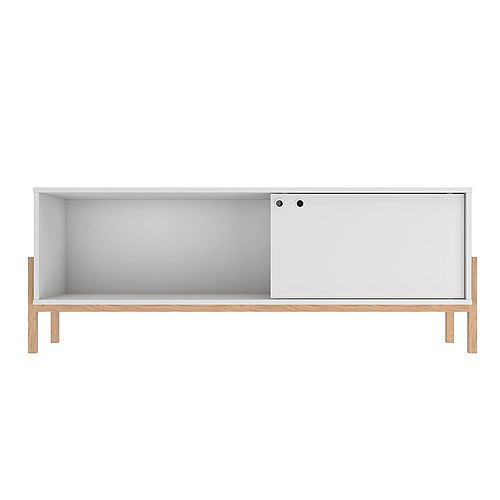 Bowery 55.12 TV Stand in White and Oak