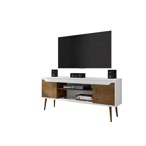 Bradley 62.99 TV Stand in White and Rustic Brown