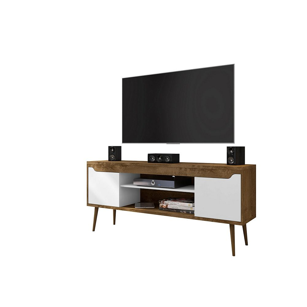 Manhattan Comfort Meuble TV Bradley 62,99 en brun rustique et blanc