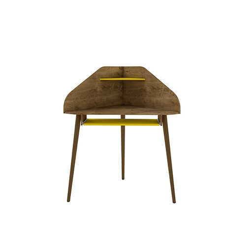 Bradley Corner Desk in Rustic Brown and Yellow