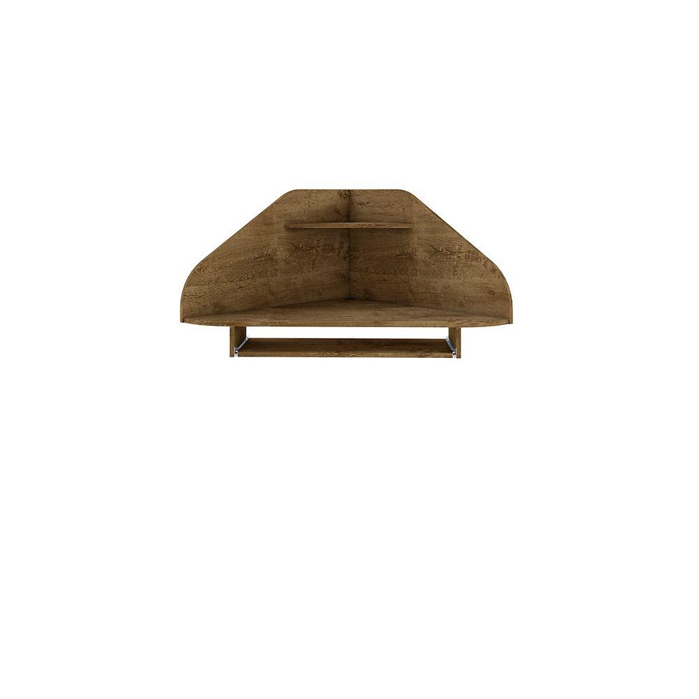 Manhattan Comfort Bradley Floating Corner Desk in Rustic Brown