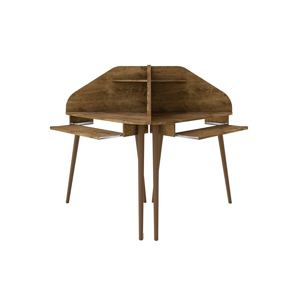 Manhattan Comfort Bradley 2-Piece Cubicle Section Desk in Rustic Brown